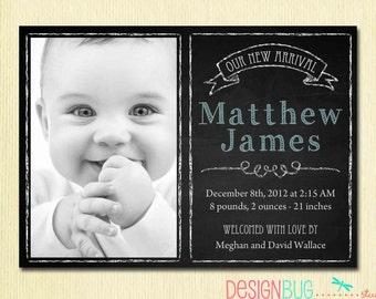 Baby Boy Birth Announcement - Modern Chalkboard Newborn Announcement- DIY Custom Printable