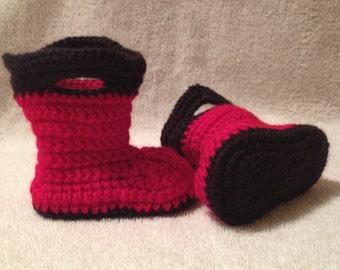 Crochet Baby Booties, Rainboots, 0 to 3 months