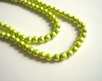 100 lemon Glass Beads, Neon lemon Glass Pearls