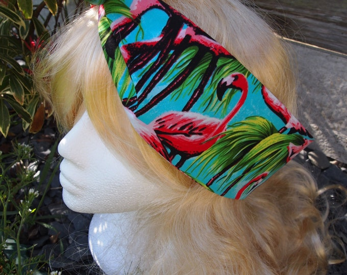 50s Vintage Flamingo Head Scarf - With Wire/Not - Rockabilly Hair Tie Bird Blue