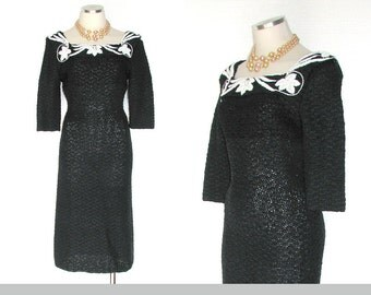 40s to 50s Dress Ribbon Knit Vintage Tight Fit Black w White Beading S Free Domestic and Discounted International Shipping