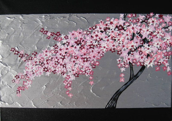 Items similar to cherry blossom painting tree of life for Cherry blossom canvas painting