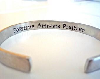 Friend-Bracelet-Positive Thinking Bracelet, Hand Stamped Custom Bracelet, Customize this Bracelet with Your Personal Message