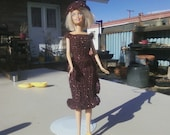 10% off  Sale/enter code 1XMAS2U at checkout/Crocheted Barbie Dress and Hat