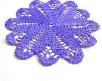 Handmade, crochet medium doilie, doily lilac-purple hearts ,  home decor, coaster, 6,5 inch
