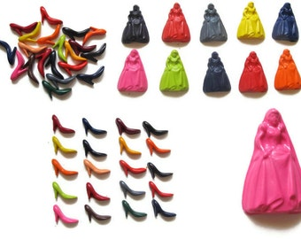 Princess and Shoe Crayons set of 20 - party favors - recycled crayon
