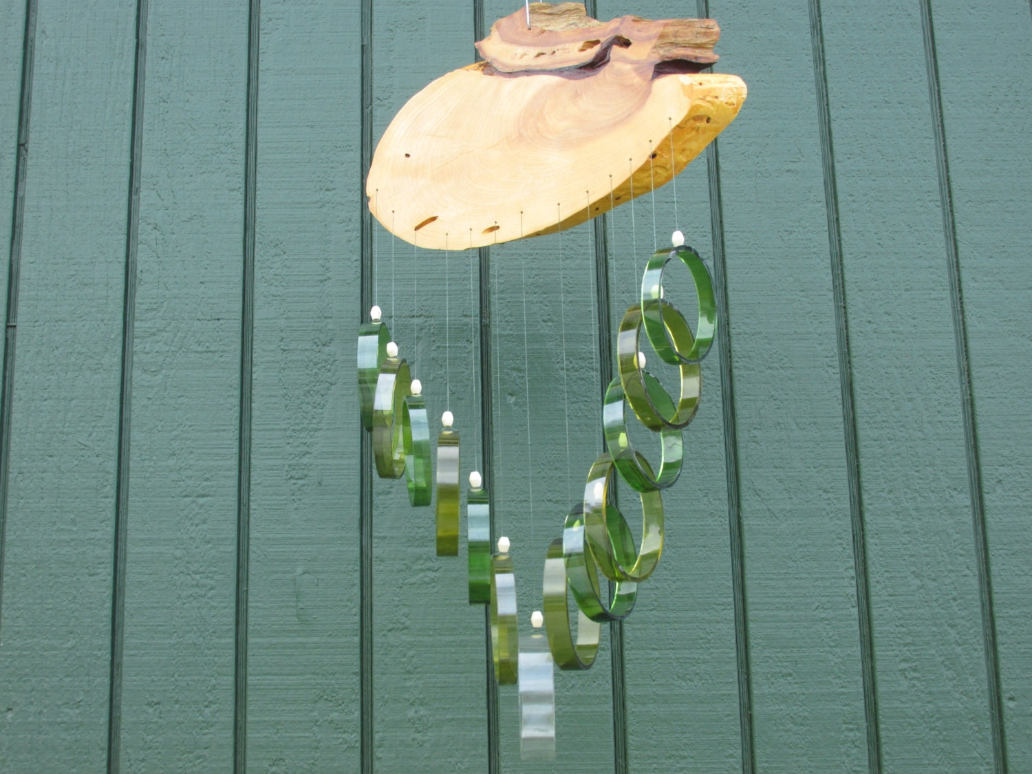 Recycled wine bottle wind chime juniper wood green and brown for Glass bottle wind chimes