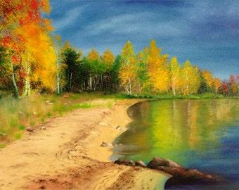 "ORIGINAL Oil Painting ""Autumn Forest"" size: 36""x24"""