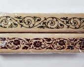 2 Vines and Twines Borders Wooden Rubber Stamps Set - Scrapbooking. Cardmaking. Tag Making. Weddings. Christmas. Flowers. Floral Borders