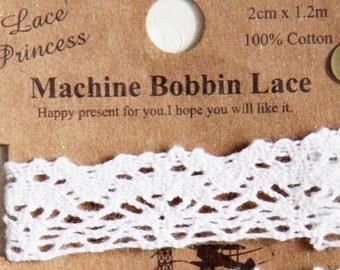 1.2 metres Machine Bobbin Lace-White Cotton Lace. Srapbooking. Gift Wrapping (Design 3)