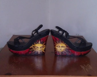 Vintage Handpainted Wedge Heels Platform Heels
