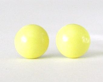 Lemon Yellow Studs, yellow earrings, Small Round Post Earrings, yellow stud earrings, yellow post earrings