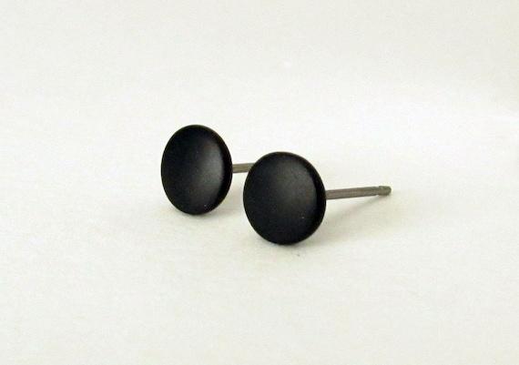 Black studs matte black earrings mens stud by HouseofShiba ...