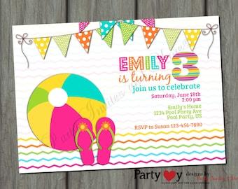 Colorful Pool Party Birthday Printable Invitation - Digital File
