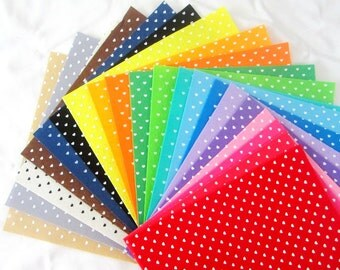 Printed Felt Fabric Group - heart design ( 30x30cm, 20 in a set)