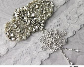 Wedding Garter Set, Bridal Garter, White Wedding Garter, Crystal Wedding Garter Set, Stretch Lace Garter, Crystal Rhinestone Garter Set