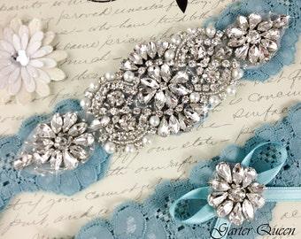 Bridal garter set, SOMETHING BLUE Wedding Garter set, Heirloom Rhinestone and Crystal garters