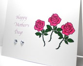 Mother's Day Greeting Card, Happy Mom's Day, Pink Roses, Long Stem Roses, Gemstones, Mom, Grandmother, Aunt, Sister