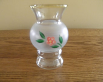 Little Glass Vase with Hand Painted Pink Flower