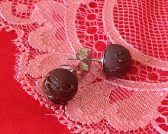 Tiny Rich Chocolate Truffle Earrings