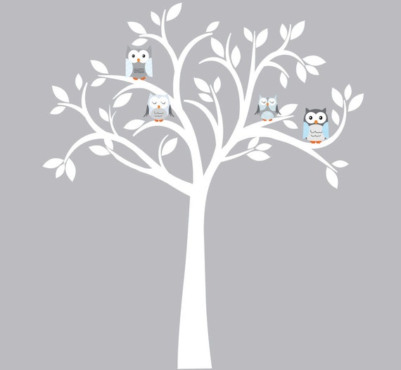 Owl decal owl tree wall sticker blue owl by for Bird and owl tree wall mural set