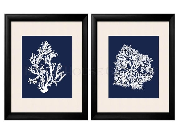 Blue Coral Wall Art Navy Blue Coral Print Navy White Wall Art Navy