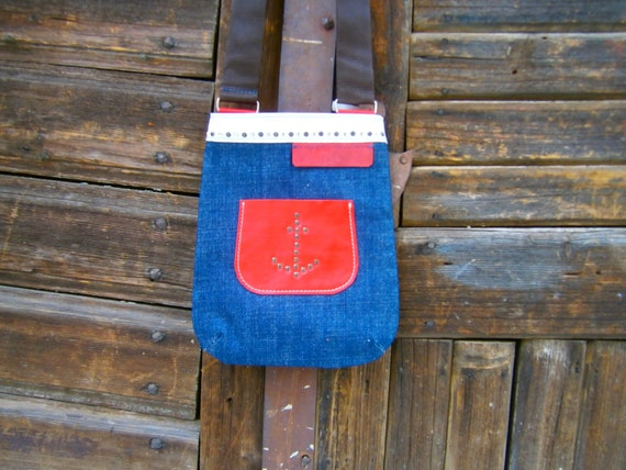 Sailor's Bag, Denim Bag, Denim and leather bag, Blue jeans and red leather bag, Handmade Leather Bag