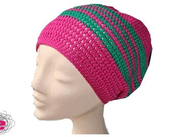 Beanie, crocheted hat pink green,