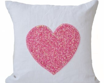 White linen Pillow Cover Pink Sequin Heart, Decorative Cushion, Gift of love, Throw Pillow 16X16, Wedding Anniversary Gift, Girl Pillow