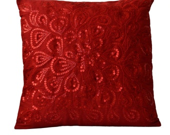 Throw Pillows Red Sequins -Decorative Silk Pillow Cover -Cushion Cover -Decorative Pillow -16X16 -Wedding Gift -Anniversary -Housewarming