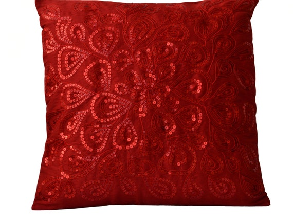 Decorative Pillows With Sequins : Throw Pillows Red Sequins Decorative Silk Pillow Cover