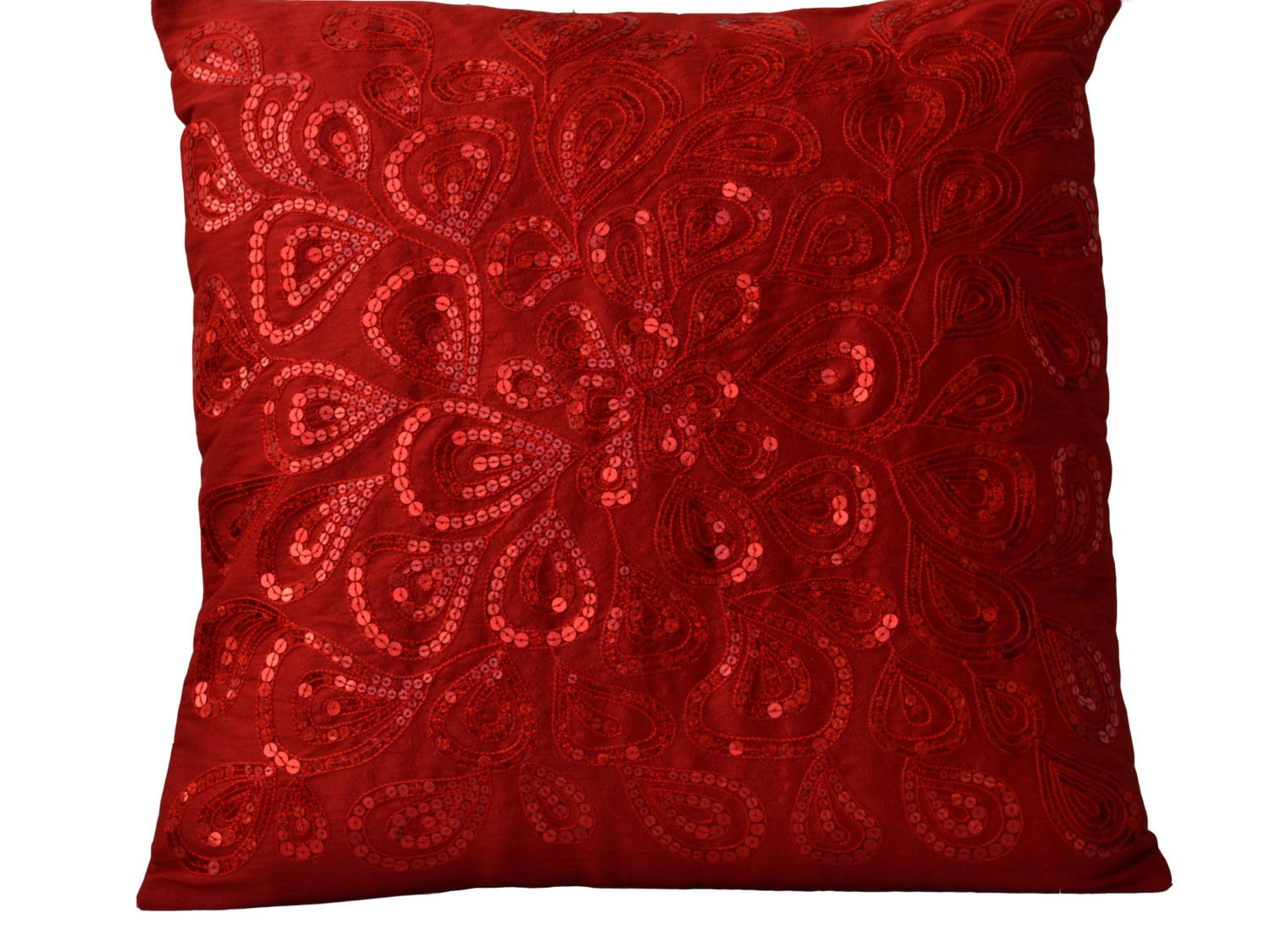 Throw Pillows Red Sequins Decorative Silk Pillow Cover