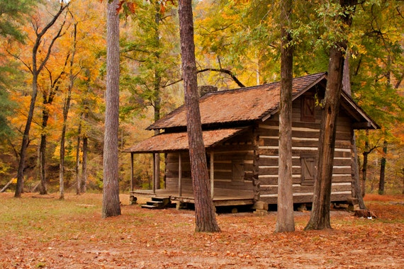 Fall Photo- 8x12 Print- Cabin in the Woods
