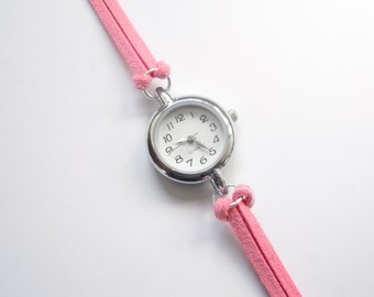 Pastel Pink Suede Bracelet Watch