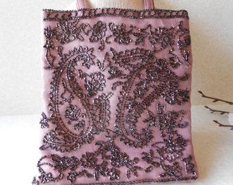 Pink Evening Bag, Beaded Evening Bag, Pink and Black, Vintage Evening Bag, Romantic Purse, Small  Rose Purse EB-0396