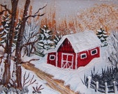 ACEO Original Painting Secluded Barn  winter snow barn trees aceo art miniature