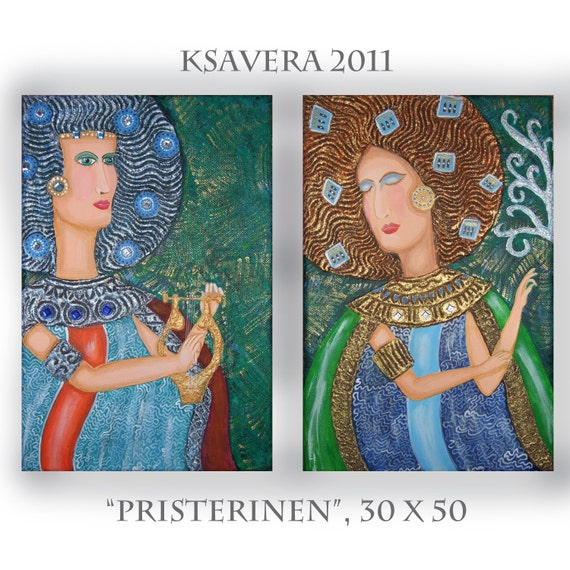 meditation art FREE SHIPPING Painting Religious spiritual small KSAVERA priestess 20x12 Avant garde little meditation Tree of life emerald