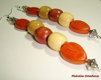 Very long dangle earrings, wood earrings, tribal earrings, ethnic earrings, african earrings, statement earrings, affordable jewelry