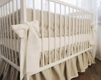 Linen Crib  bedding - gathered skirt and 4 side bumper - Nursery bedding, natural linen