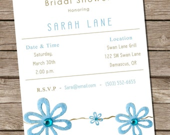 PRINTABLE Bridal Shower Invite - Blue Flower