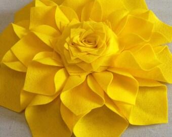 Really Big 16 Inch Yellow Felt Dahlia Flower Sculpture