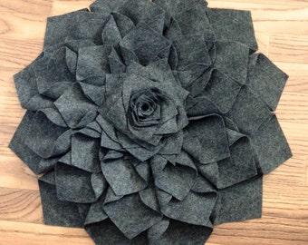 Ginormous 24 Inch Gray Felt Dahlia Flower Sculpture