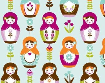 Fabric 'Little Matryoshka' Aqua Riley Blake Designs by Carly Griffith