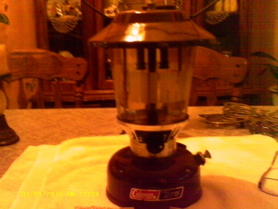 Vintage Coleman Lantern Model 275 with Carrying Case -  New Wick  -  Instruction in Carrying Case