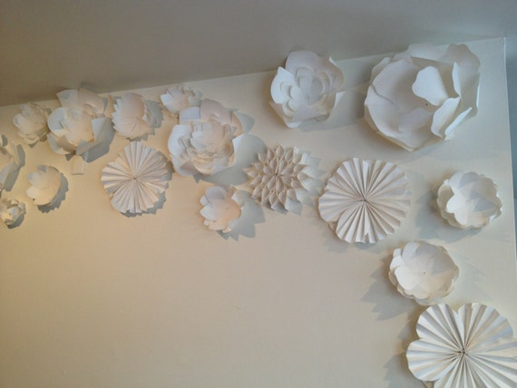 Wall Decoration Paper Flowers : Items similar to paper flower wall art or wedding backdrop
