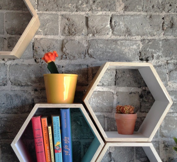 Set of 3 White Floating Honeycomb Shelves