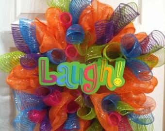 Summer Mesh Wreath/ Deco Mesh Wreath/ Summer Deco Mesh Wreath