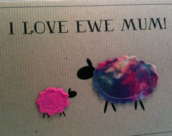 """Real Wool """"I Love Ewe Mum"""" Mother's Day Card"""