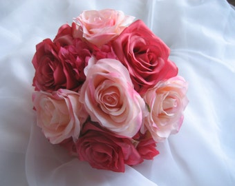 Wedding Bouquet Pink Roses and Hydrangea