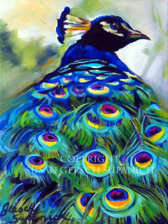 Art Print Peacock colorful painting 11 x 14